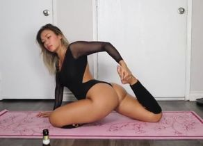 Yoga opens up in gimp costume