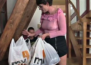 Super-naughty mom in law drinks new..