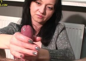 Female dom edging rigid salami..