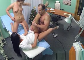 Nurse tugs  with patient in three way