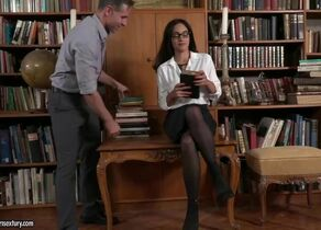 Cool black-haired librarian with..