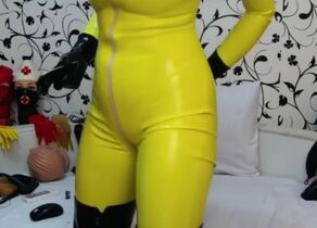 Yellow Spandex Catsuit Web cam Princess